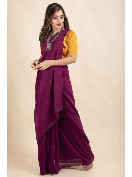 Grape Purple Mercerized Handloom Khadi Cotton Saree with Blouse Piece-2