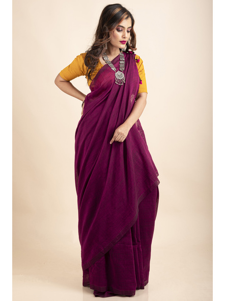 Grape Purple Mercerized Handloom Khadi Cotton Saree with Blouse Piece-5