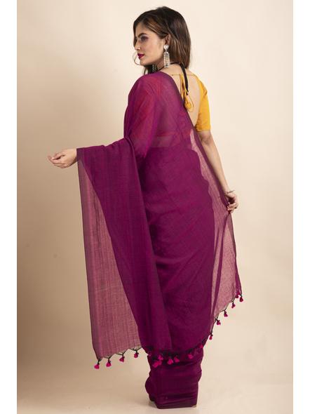 Grape Purple Mercerized Handloom Khadi Cotton Saree with Blouse Piece-1