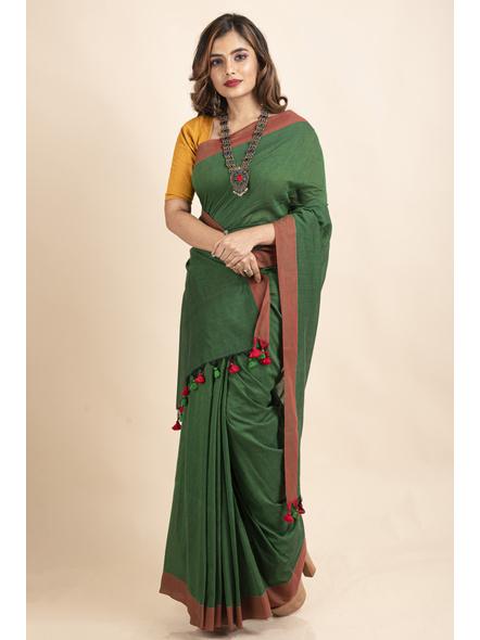Mango Green Mercerized Handloom Khadi Cotton Saree with Blouse Piece-LAAMHCWBP021
