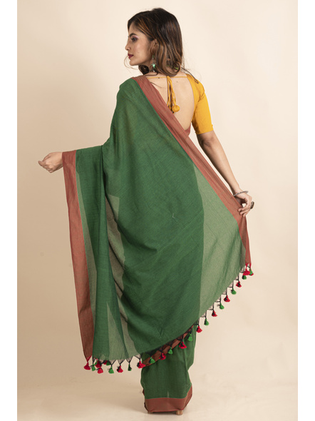 Mango Green Mercerized Handloom Khadi Cotton Saree with Blouse Piece-1