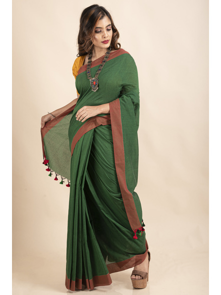 Mango Green Mercerized Handloom Khadi Cotton Saree with Blouse Piece-2