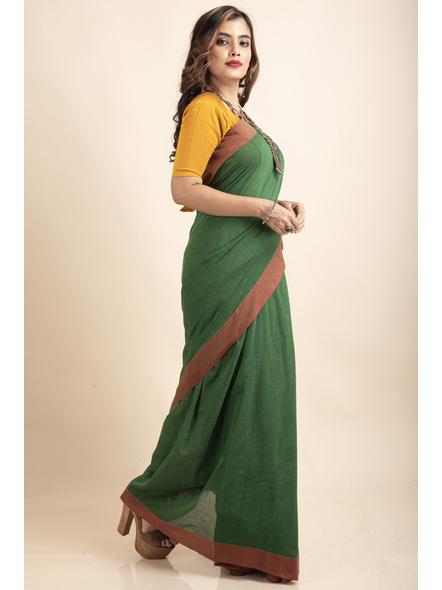 Mango Green Mercerized Handloom Khadi Cotton Saree with Blouse Piece-3
