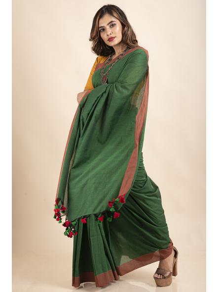 Mango Green Mercerized Handloom Khadi Cotton Saree with Blouse Piece-4