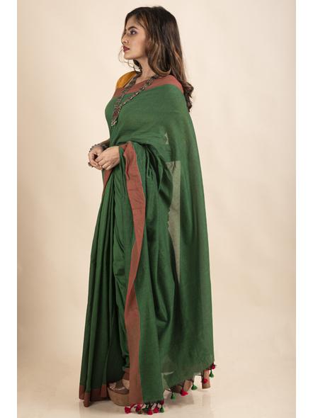 Mango Green Mercerized Handloom Khadi Cotton Saree with Blouse Piece-5