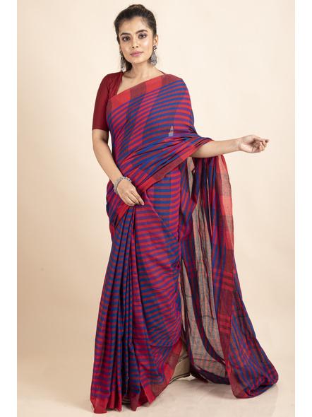 Pink Blue Cotton Handloom Striped Gamcha Saree-LAACHS024