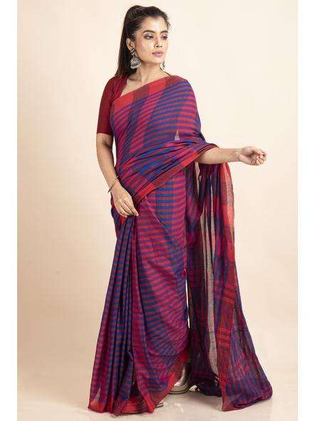 Pink Blue Cotton Handloom Striped Gamcha Saree-3