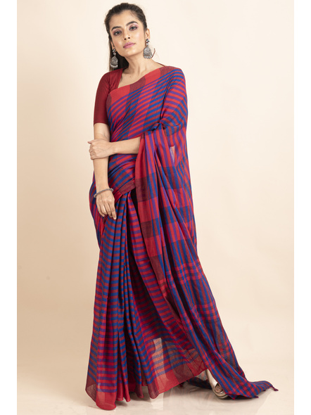 Pink Blue Cotton Handloom Striped Gamcha Saree-5