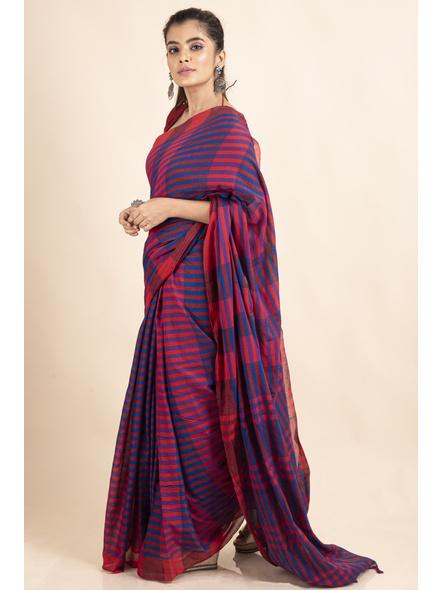 Pink Blue Cotton Handloom Striped Gamcha Saree-2