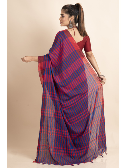Pink Blue Cotton Handloom Striped Gamcha Saree-1