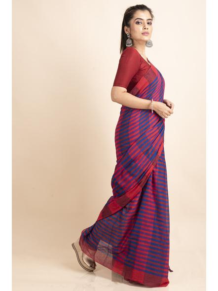 Pink Blue Cotton Handloom Striped Gamcha Saree-4