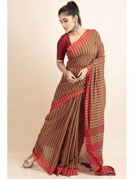 Red Green Cotton Handloom Checkered Gamcha Saree-3