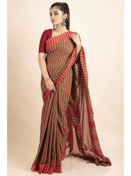 Red Green Cotton Handloom Checkered Gamcha Saree-LAACHS025