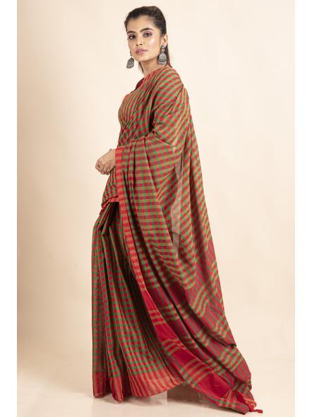 Red Green Cotton Handloom Checkered Gamcha Saree-2