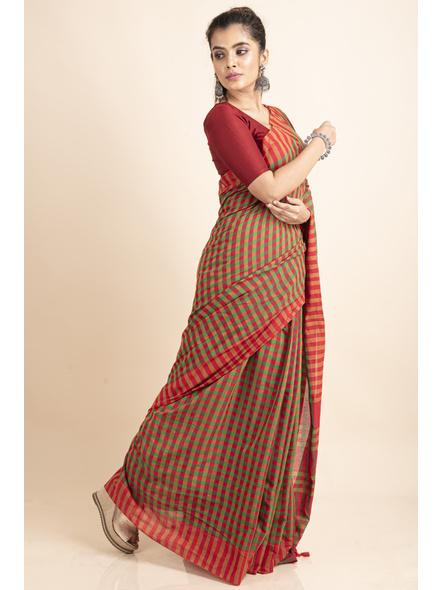 Red Green Cotton Handloom Checkered Gamcha Saree-4