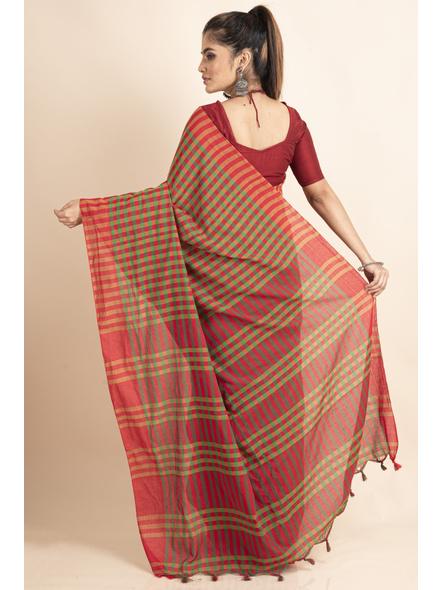 Red Green Cotton Handloom Checkered Gamcha Saree-1