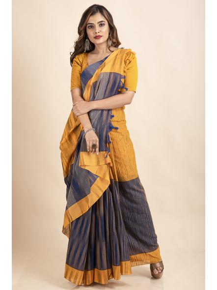 Cotton Blue Mango Yellow Santipuri Pompom Jharna Khadi Saree-LAAJKCS009
