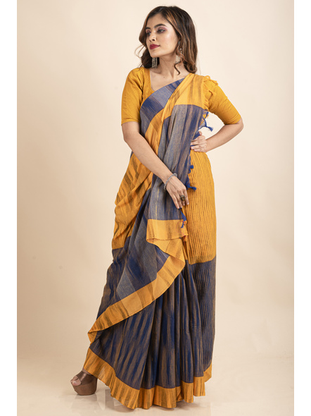 Cotton Blue Mango Yellow Santipuri Pompom Jharna Khadi Saree-3