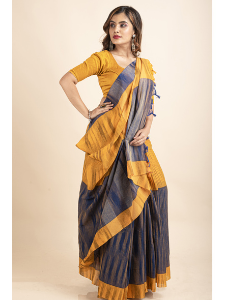 Cotton Blue Mango Yellow Santipuri Pompom Jharna Khadi Saree-2