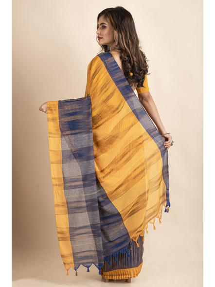 Cotton Blue Mango Yellow Santipuri Pompom Jharna Khadi Saree-1