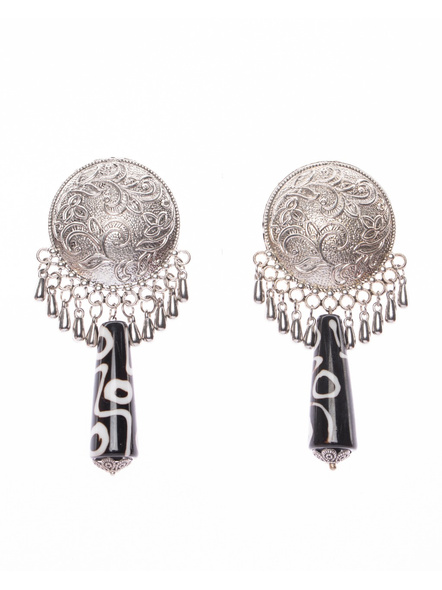 Handmade Designer German Silver Jumbo Floral Stud with Long Acrylic Bead and Droplets-LAAER392