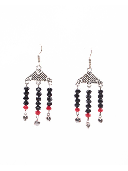Designer German Silver Triangle Dangler with Black Red Crystal and Ghungroo-LAAER393