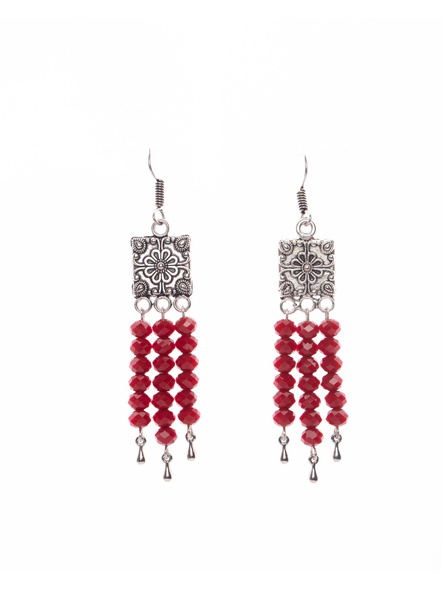 Designer German Silver Square Dangler with Red Crystal  Silver Drop-LAAER394