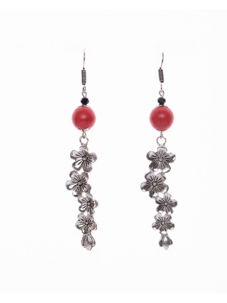 German Silver Floral Dangler Earring with Semi Precious Red Howlite Turquoise and Black Crystal-LAAER395
