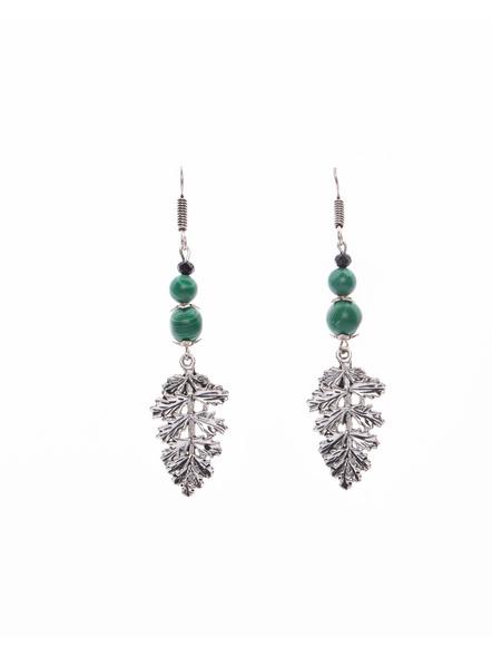 German Silver Leaf Dangler Earring with Semi Precious Malachite Stone-LAAER396
