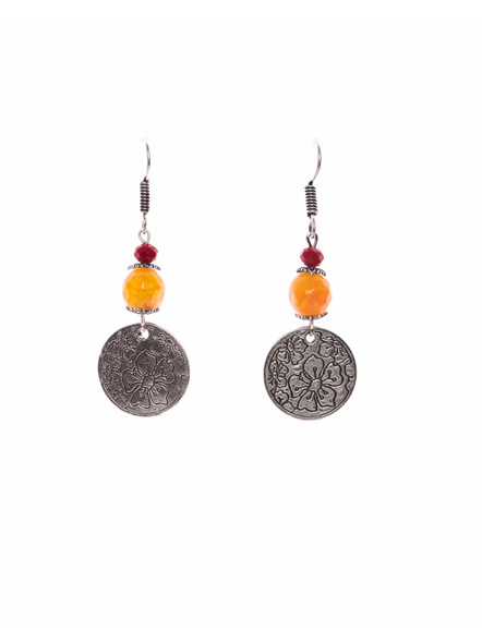 German Silver Round Floral Charm Dangler Earring with Orange Onyx Red crystal-LAAER397
