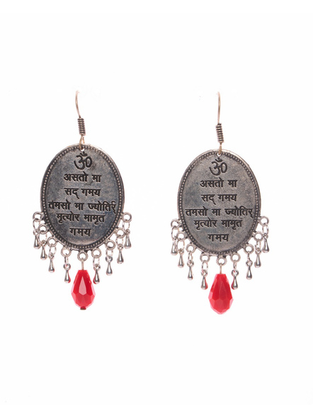 Designer Peace Mantra Scripted Oval German Silver Dangler Base Earring with Red Drop Crystal-LAAER398