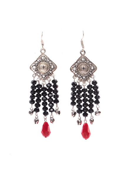 Designer German Silver Diamond Charm Dangler with Black Red Crystal and Ghungroo-LAAER399
