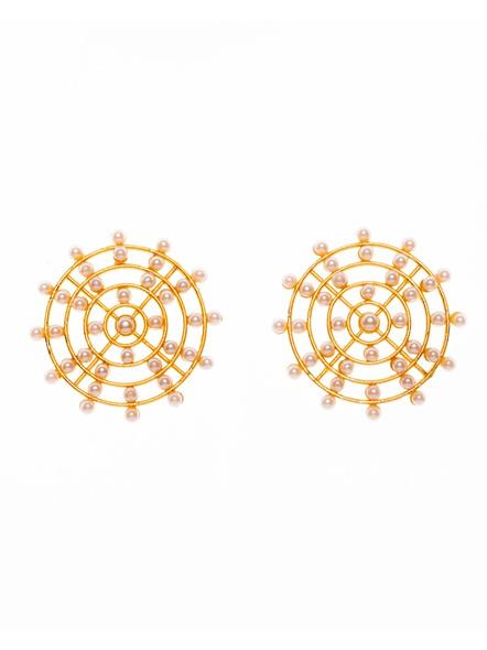 Designer Golden Faux Pearl Brass Chakra Stud-LAAER400