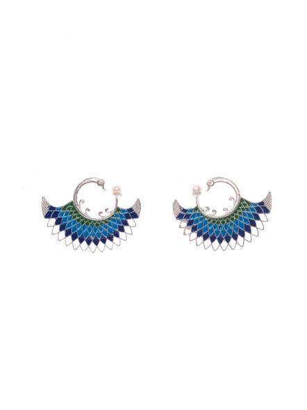 Designer German Silver Green Blue Meena Peacock stud with Faux Pearl Earring-LAAER401