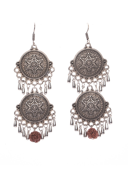 Designer German Silver Double Floral Base Dangler Earring with Faux Rudraksh and droplets-LAAER402
