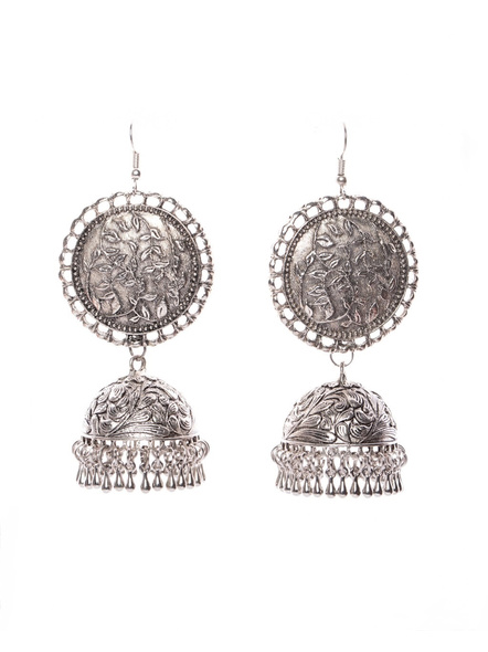 Designer German Silver Round Leaf Base Jhumka Earring with Drops-LAAER403
