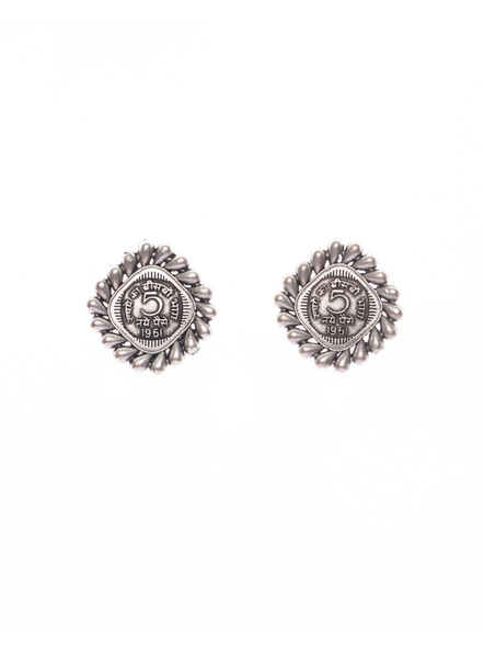Designer German Silver Five Paise Coin Stud-LAAER405