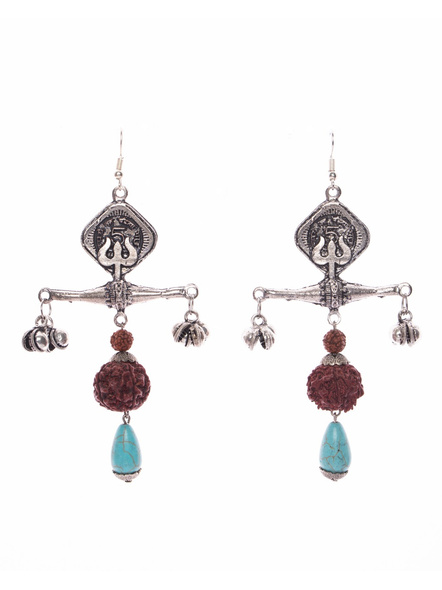 Designer Trishul Five Paise Coin Base with Faux Rudraksh Turquoise Drop-LAAER411