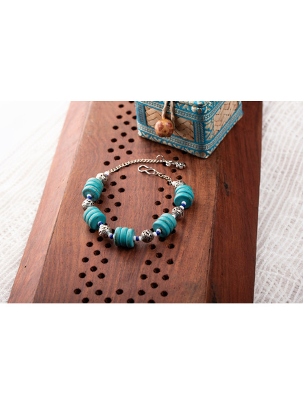 Designer Semi precious Turquoise Disc Bracelet with German Silver Spacer Seed bead Adjustable chain and Floral Charm-LAAHB016