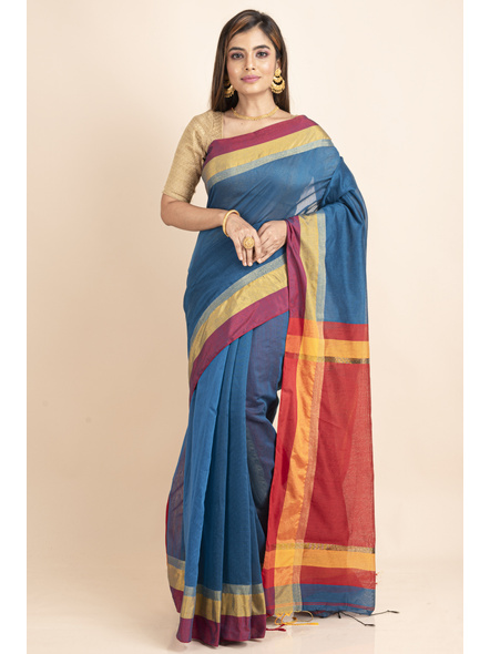 Turquoise Blue Cotton Handloom with Red Yellow Pallu Saree-LAACHS026