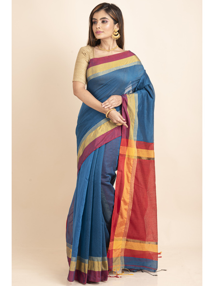 Turquoise Blue Cotton Handloom with Red Yellow Pallu Saree-3