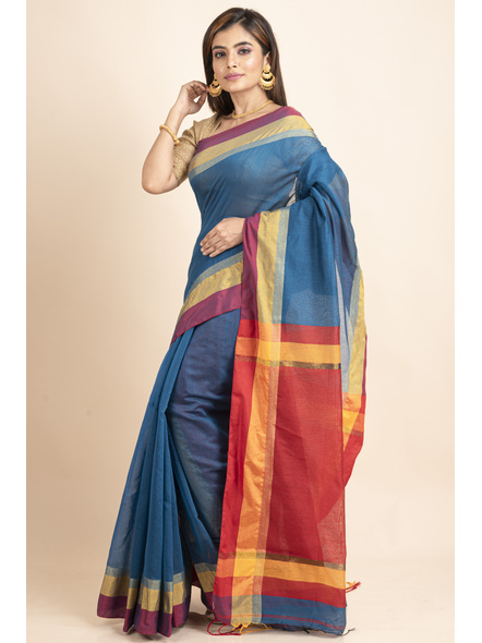 Turquoise Blue Cotton Handloom with Red Yellow Pallu Saree-4