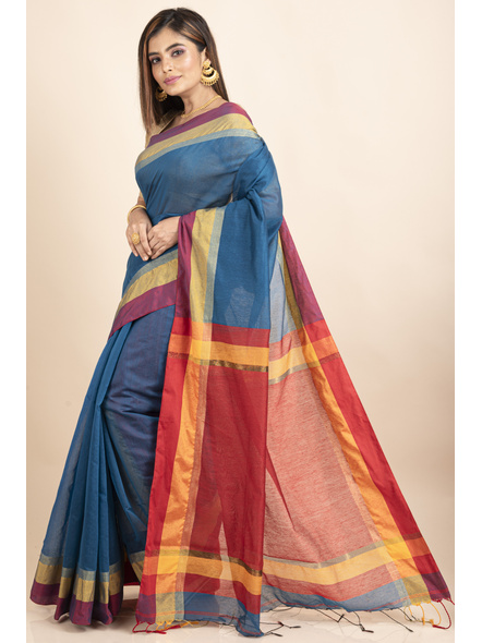 Turquoise Blue Cotton Handloom with Red Yellow Pallu Saree-2