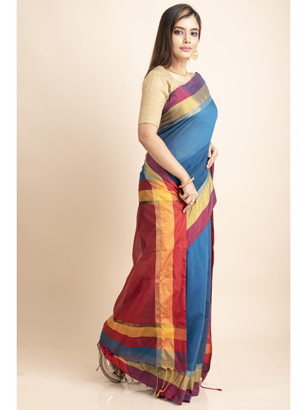Turquoise Blue Cotton Handloom with Red Yellow Pallu Saree-5