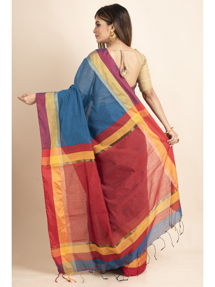 Turquoise Blue Cotton Handloom with Red Yellow Pallu Saree-1