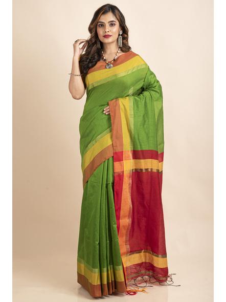 Green Cotton Handloom with Red Pallu Saree-LAACHS027