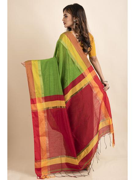 Green Cotton Handloom with Red Pallu Saree-1