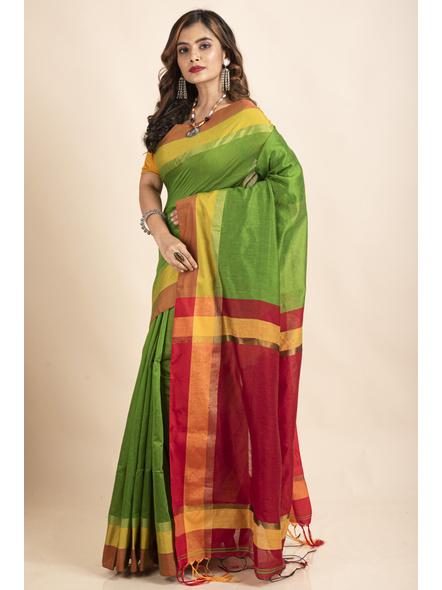 Green Cotton Handloom with Red Pallu Saree-4