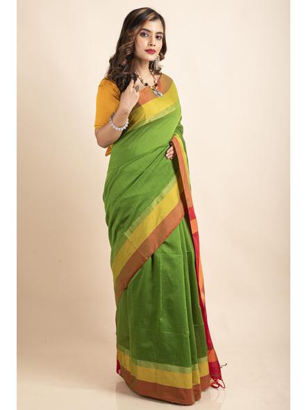 Green Cotton Handloom with Red Pallu Saree-5