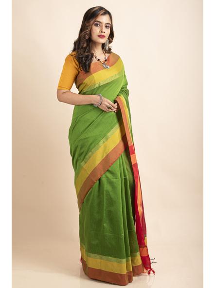 Green Cotton Handloom with Red Pallu Saree-3